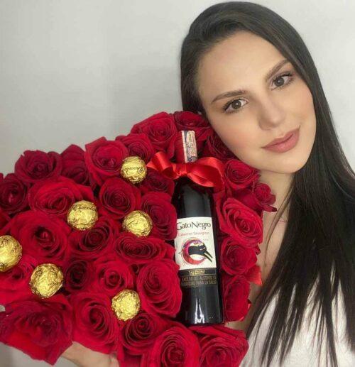 Corazón de Rosas con Vino