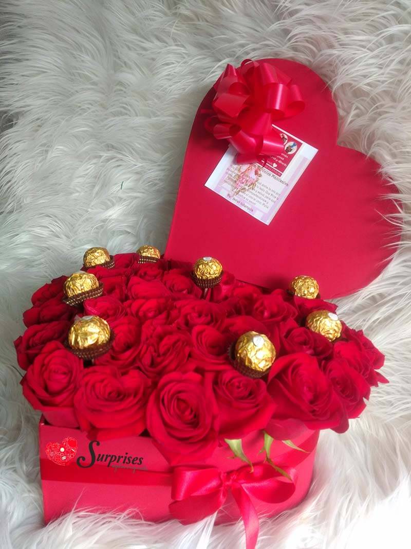 rosas con chocolates a domicilio